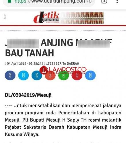 Media Lokal di Lampung Dihack, Bakal Melapor ke Polisi