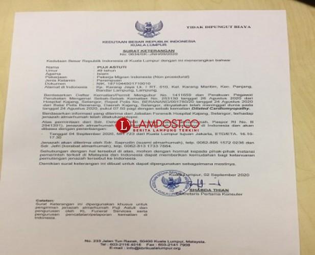 Jenazah Puji Astuti Diperkirakan Tiba di Tanah Air 4 September