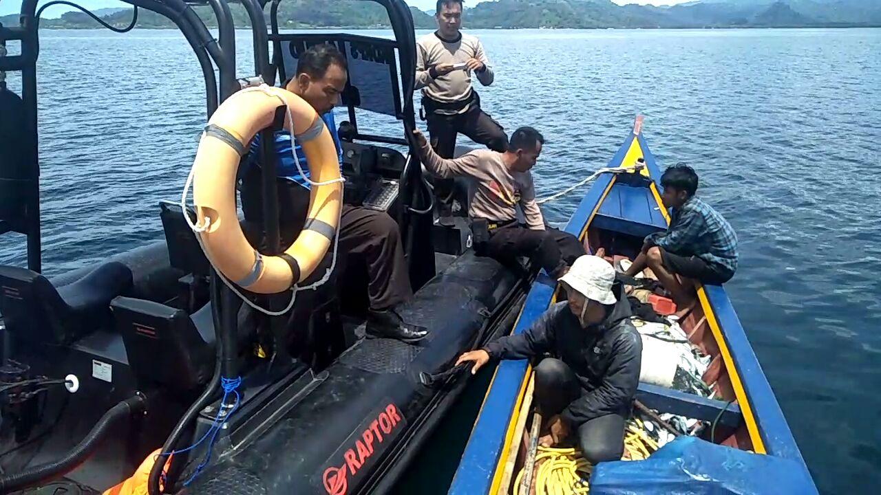 Polair Tangkap Tiga Terduga Pelaku Ilegal Fishing di Perairan Pesawaran