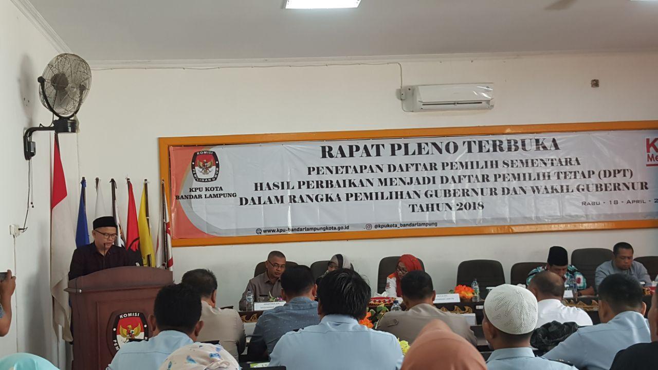 KPU Kota Bandar Lampung Plenokan DPT Pilgub