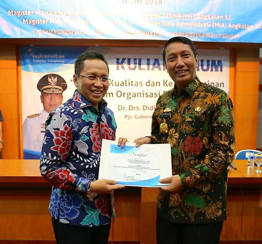 Pjs. Gubernur Provinsi Lampung Isi Kuliah Umum di UBL