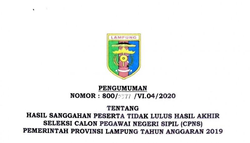 5 Sanggahan Peserta CPNS Pemprov Lampung di Tolak