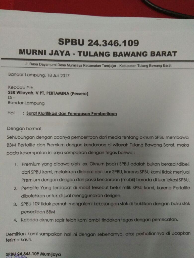 SPBU Murnijaya Bantah  Jual Premium di Jeriken