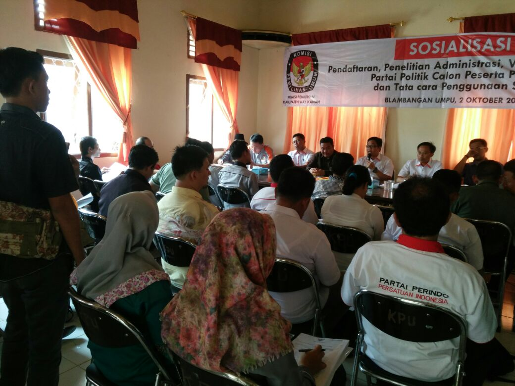 KPUD Way Kanan Sosialisasi Pendaftaran Partai Politik