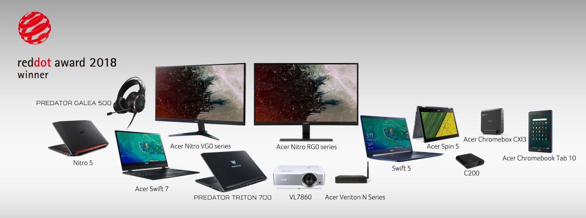 Acer Raih 13 Penghargaan Red Dot Design Awards 2018