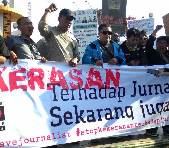 PWI Pesawaran Turut Dukung Aksi Damai Tolak Kekerasan Jurnalis