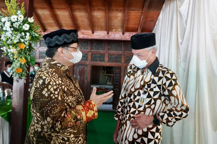 Airlangga dan Ganjar Ziarah Kiai Bersama di Jatinom Klaten