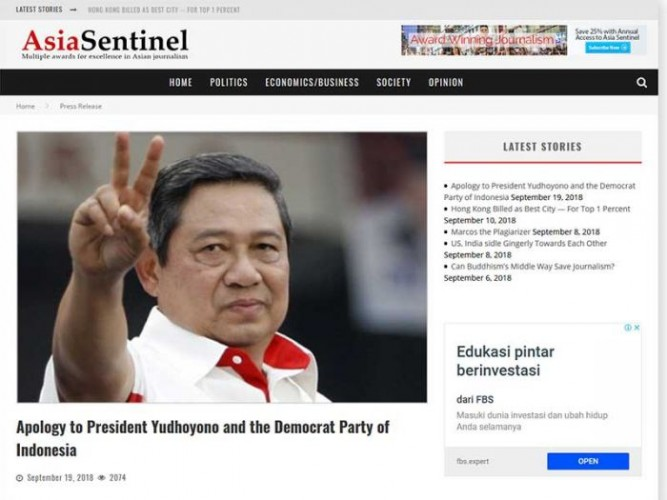 Asia Sentinel Minta Maaf ke SBY dan Partai Demokrat