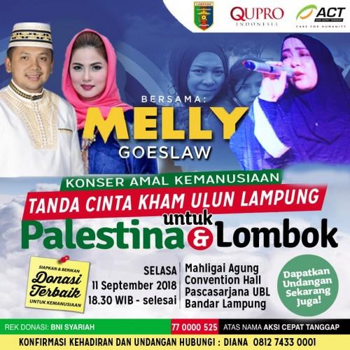 ACT  Gelar Konser Kemanusiaan Peduli Lombok dan Palestina Bersama Melly Goeslaw