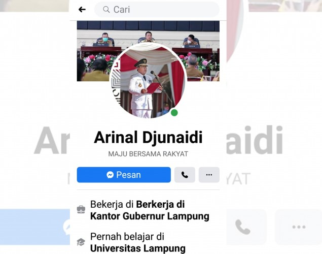 Awas Akun Facebook Gubernur Arinal Gadungan