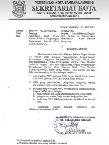 Bandar Lampung Berlakukan WFH 75 Persen Pegawai