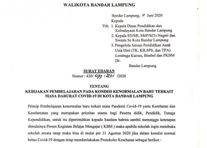 Bandar Lampung Perpanjang Belajar di Rumah Hingga 31 Agustus