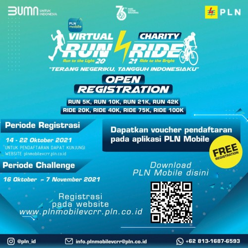 Bantu Sambung Listrik Warga Tidak Mampu, PLN Gelar PLN Mobile Virtual Charity Run and Ride