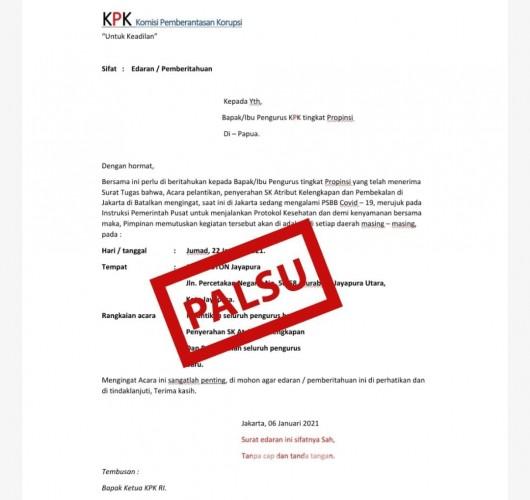 Beredar Surat Tugas Palsu di Papua, KPK: Laporkan jika Ada di Lampung