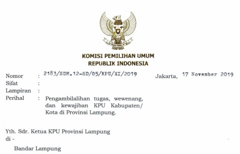 Berpolemik, KPU Lampung Ambil Alih Tugas KPU Kabupaten/Kota