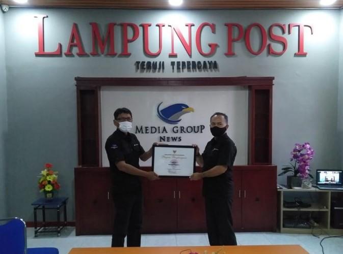 BNPB Anugerahi Lampung Post, Media Pendukung Penanganan Covid-19
