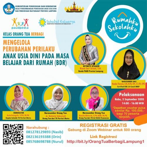 BP PAUD Dikmas Lampung Gelar Webinar Orangtua Berbagi