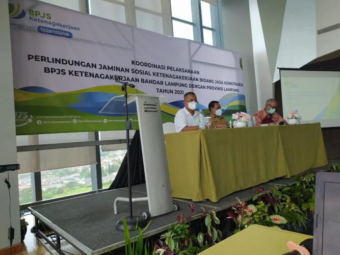 BPJamsostek Bandar Lampung Gelar Rapat Koordinasi Pelaksanaan Jaminan Sosial dengan Asosiasi Jasa Kontruksi di Lampung
