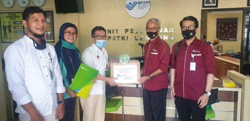 BPJamsostek Bandar Lampung Salurkan Bantuan Masker dan Multivitamin ke BP2MI