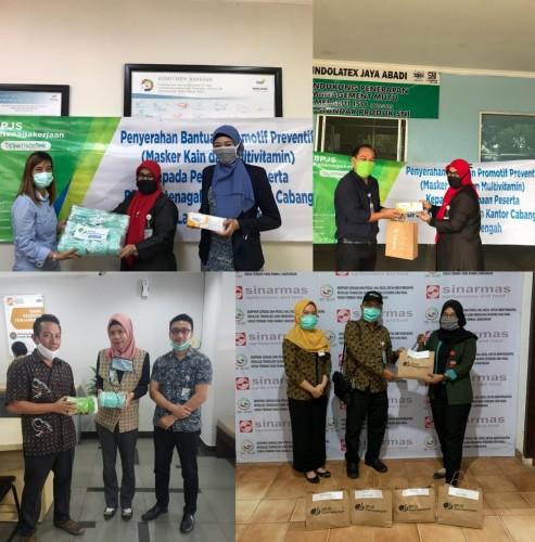 BPJamsostek Lamteng Salurkan Bantuan Masker dan Multivitamin ke Pekerja