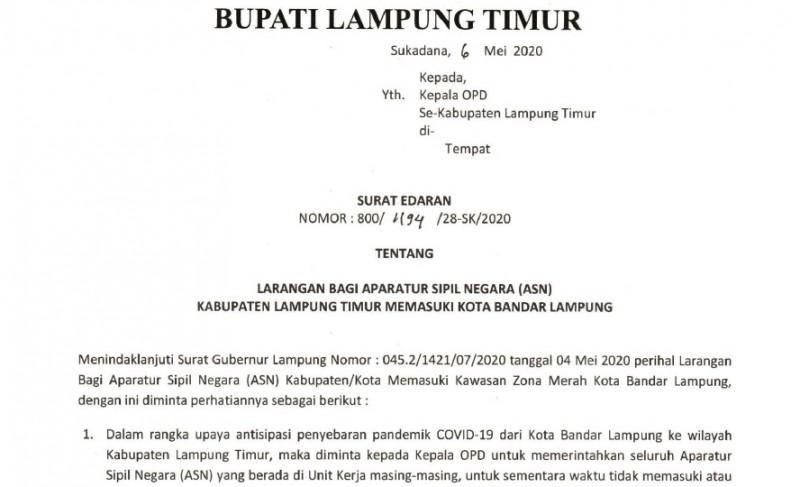 PNS Lamtim Dilarang ke Bandar Lampung