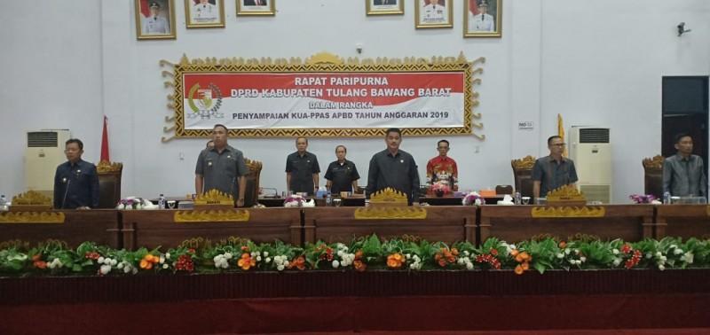 Bupati Tubaba Serahkan KUA PPAS RAPBD 2019