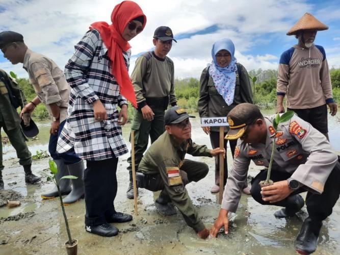 Cegah Abrasi, Polres dan Warga Tanam Mangrove di Kualajaya