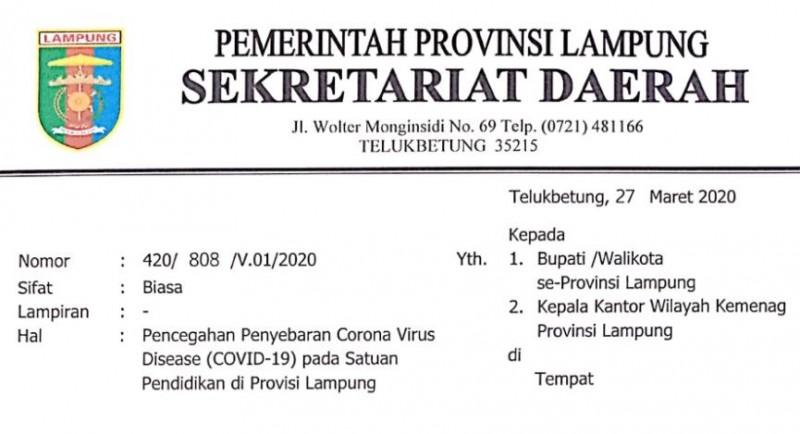 Cegah Covid-19, Pemprov Liburkan Sekolah Sampai 22 April