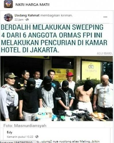 [Cek Fakta] 4 Anggota FPI Mencuri di Hotel Saat Sweeping? Begini Faktanya