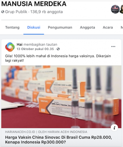[Cek Fakta] Benarkah Harga Vaksin Sinovac di Indonesia 1000% Lebih Mahal Daripada Brazil? Ini Faktanya