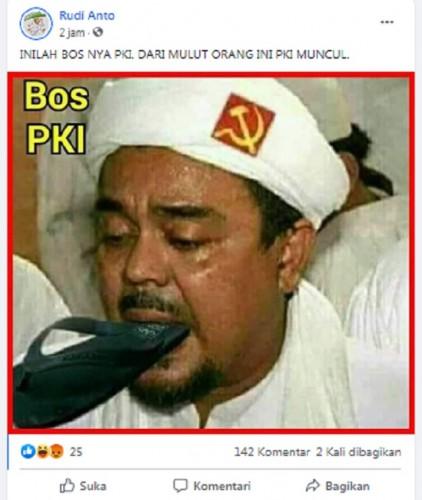 [Cek Fakta] Beredar Foto Habib Rizieq Shihab Pakai Serban Logo PKI? Ini Faktanya