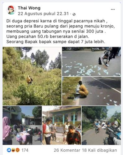 [Cek Fakta] Beredar Foto Seorang Pria Membuang Uang Rp300 Juta ke Jalan? Cek Faktanya