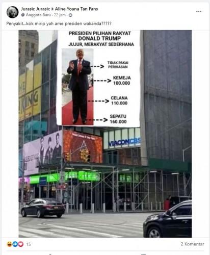 [Cek Fakta] Billboard Kampanye Donald trump di Times Square Berbahasa Indonesia? Ini Faktanya
