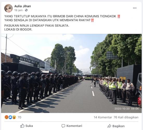 [Cek Fakta] Foto Penampakan Brimob Tiongkok Bersenjata yang Sengaja Didatangkan ke Bogor? Ini Faktanya