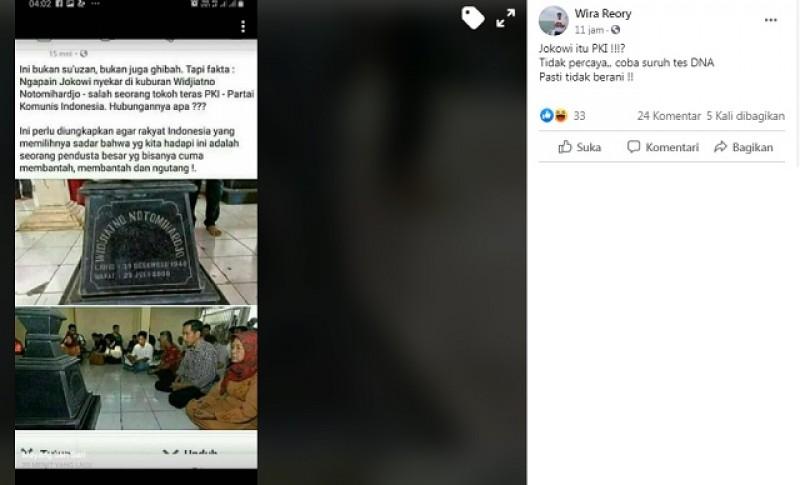 [Cek Fakta] Foto Penampakan Jokowi Nyekar di Makam Tokoh Teras PKI? Ini Faktanya