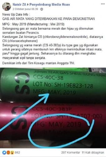 [Cek Fakta] Gas Air Mata Polisi Saat Demonstrasi Jenis Mematikan?
