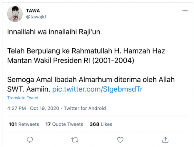[Cek Fakta] Hamzah Haz Meninggal Dunia, Itu Hoaks