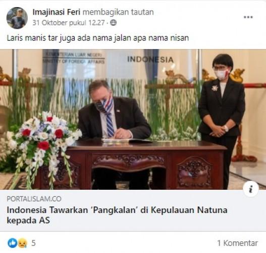 [Cek Fakta] Indonesia Tawarkan Amerika Serikat Bangun Pangkalan di Natuna? Ini Faktanya