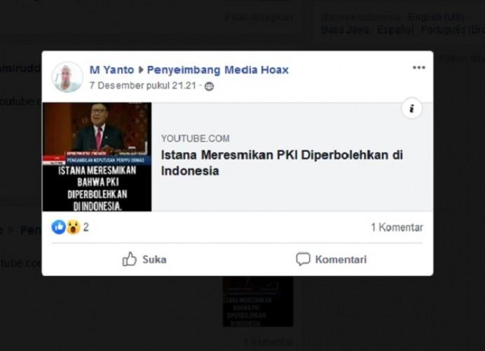 [Cek Fakta] Istana Meresmikan PKI di Indonesia