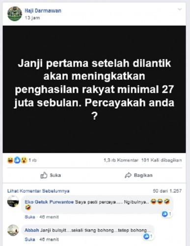 [Cek Fakta] Janji Jokowi Setelah Dilantik Meningkatkan Penghasilan Rakyat Rp27 Juta Sebulan?