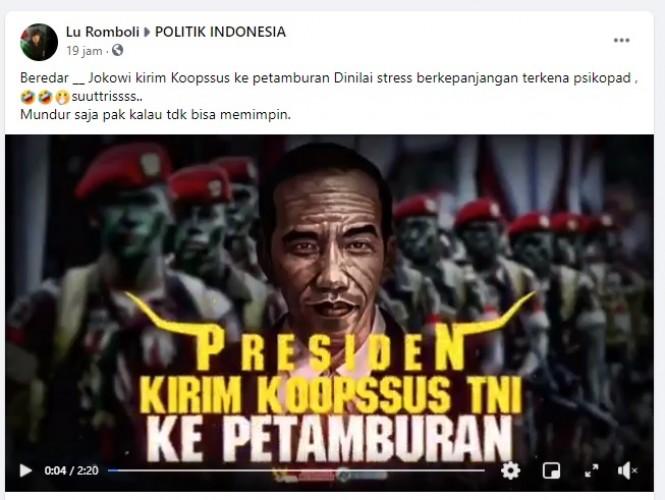[Cek Fakta] Jokowi Perintahkan Kirim Koopssus ke Petamburan? Ini Faktanya