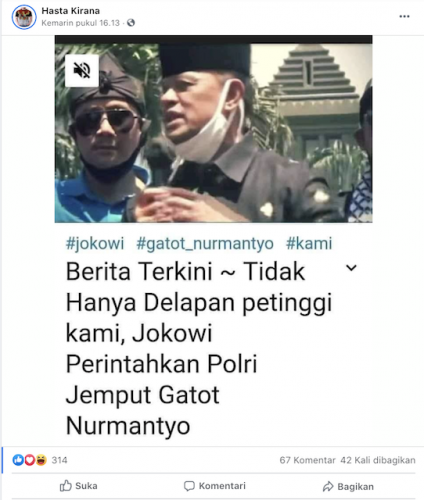 [Cek Fakta] Jokowi Perintahkan Polri Jemput Gatot? Ini Faktanya