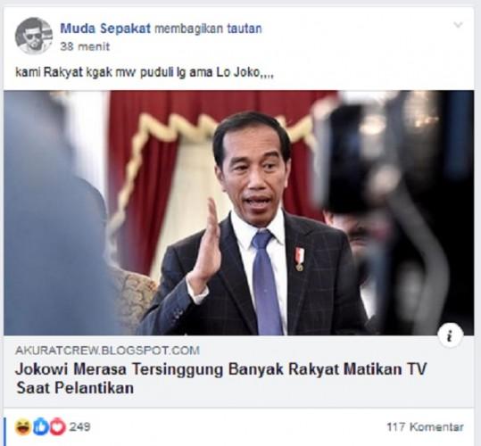 [Cek Fakta] Jokowi Tersinggung Banyak Rakyat Matikan TV Saat Pelantikan?