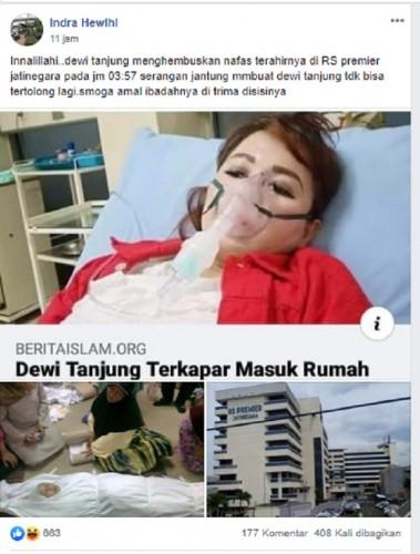 [Cek Fakta] Kader PDIP Dewi Tanjung Meninggal Dunia? Ini Faktanya
