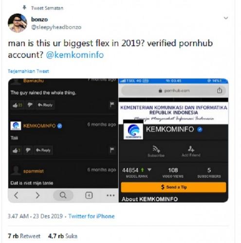 [Cek Fakta] Kominfo Bangga Punya Akun Resmi di Situs Porno? Ini Faktanya