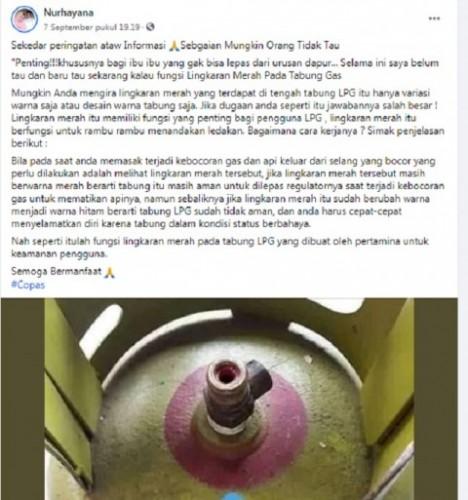 [Cek Fakta] Lingkaran Merah di Tabung Gas LPG Indikator Ledakan? Cek Faktanya