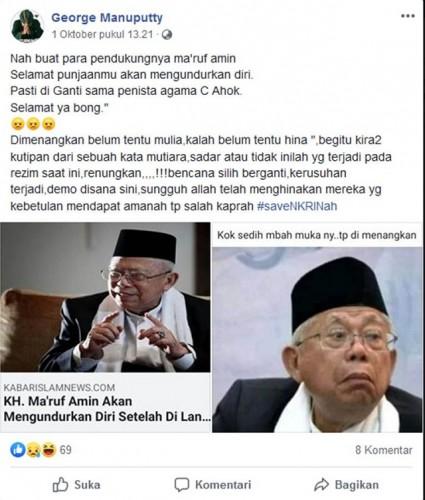 [Cek Fakta] Ma'ruf Amin Lengser Usai Dilantik Jadi Wakil Presiden