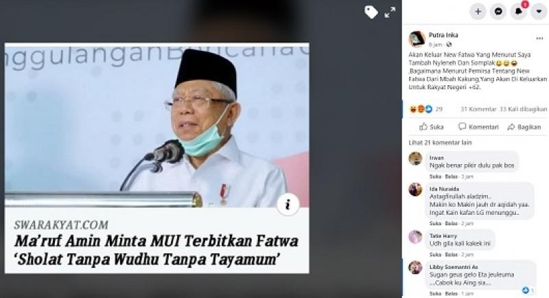 [Cek Fakta] Ma'ruf Amin Minta MUI Terbitkan Fatwa Salat Tanpa Wudu dan Tayamum