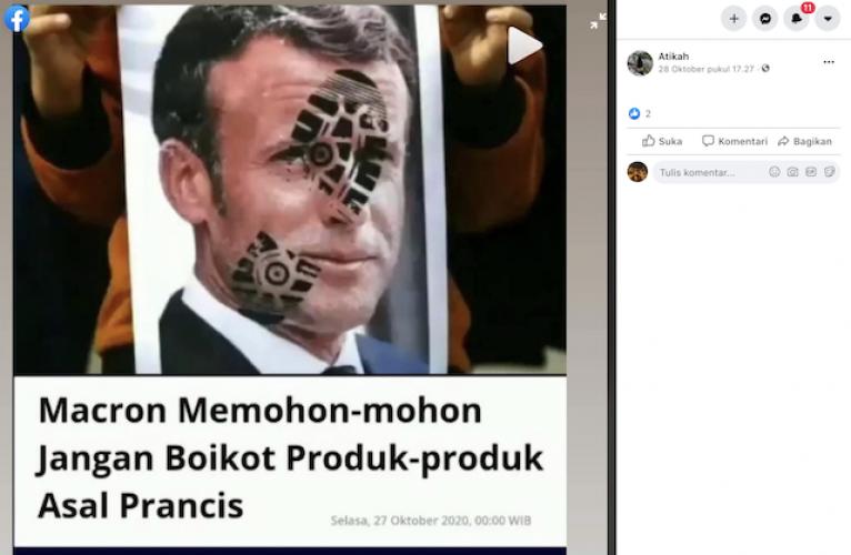 [Cek Fakta] Macron Memohon Hentikan Boikot Produk-Produk Prancis? Cek Faktanya