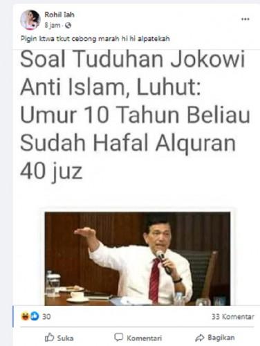 [Cek Fakta] Menko Marves Luhut Sebut Jokowi Hafal Alquran 40 Juz di Usia 10 Tahun? Begini Faktanya